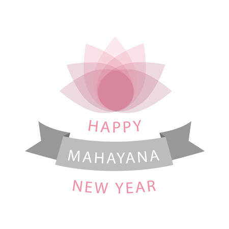 Mahayana- One of the branches of Buddhism- Buddhist New year wishes with pink sacred lotus