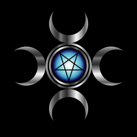 Inverted pentagram with triple goddess