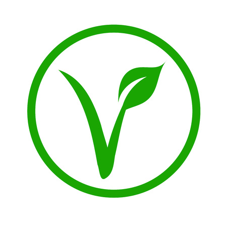 Universal vegetarian symbol- The V-label- V with a leaf, originated with the European Vegetarian Union. Illustration