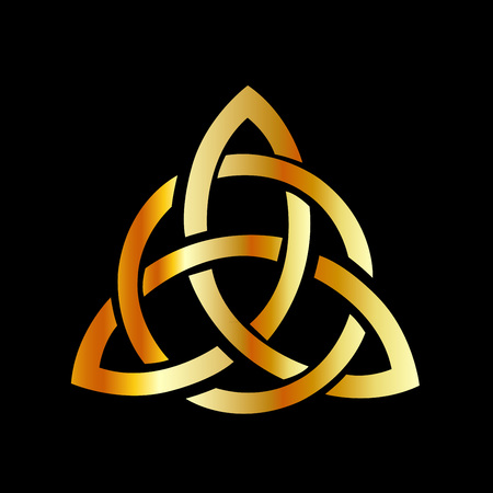 Golden triquetra celtic cross-3 point Celtic Trinity knot Banque d'images - 117808780