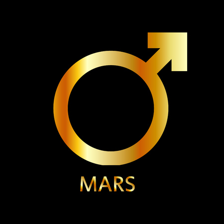 Zodiac and astrology symbol of the planet Mars in gold colors- astronomical icon