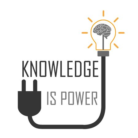 Knowledge is power. An old proverb to motivate people- graphic showing the brain in a lightbulb Illustration
