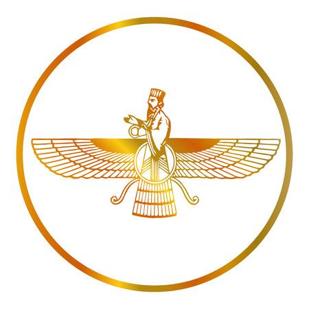 Prophet Zarathustra, Zarathushtra Spitama, or Ashu Zarathushtra- symbols of Zoroastrianism Farvahar Illustration