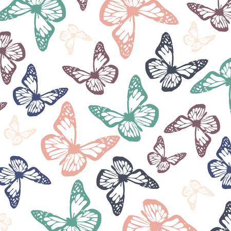 Flying butterflies in soft calming chalky pastel colors