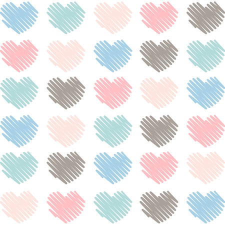 Sketched artistic hearts in soft colors background Illusztráció