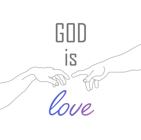 God is love motivational quote with hands of God- Creation of Adam Stockfoto - 117808795