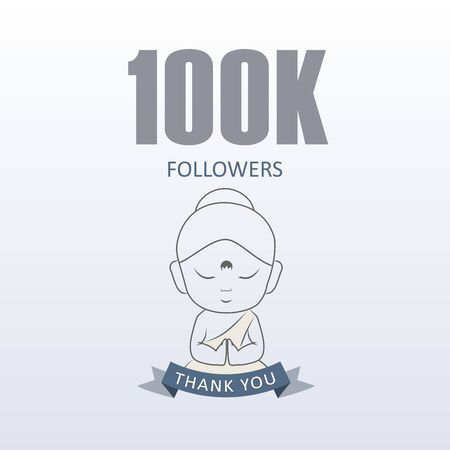 Little Monk showing gratitude for 100000 followers on social media- Thank you from Little Buddha