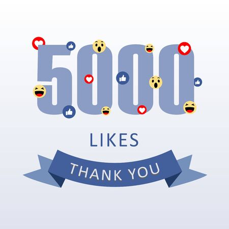 5000 Likes Thank you number with emoji and heart- social media gratitude ecard