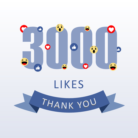 3000 Likes Thank you number with emoji and heart- social media gratitude ecard Illustration
