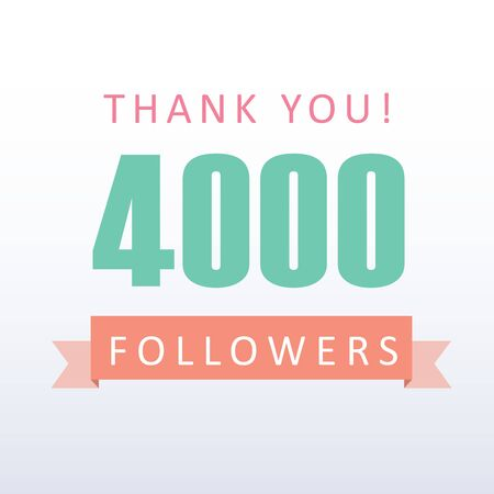 4000 followers Thank you number with banner- social media gratitude Illustration