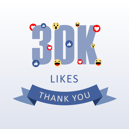 30K Likes Thank you number with emoji and heart- social media gratitude ecard