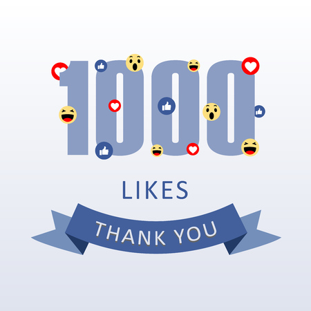 1000 Likes Thank you number with emoji and heart- social media gratitude ecard Illustration