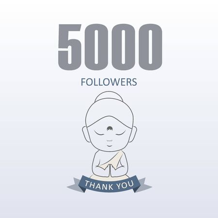 Little Monk showing gratitude for 5000 followers on social media- Thank you from Little Buddha  イラスト・ベクター素材