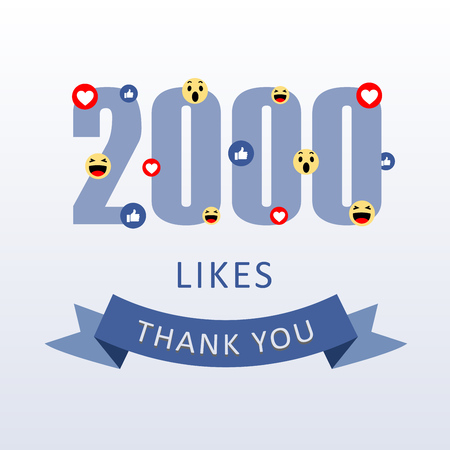 2000 Likes Thank you number with emoji and heart- social media gratitude ecard