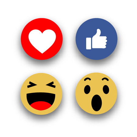 Social media face reaction emojis flat icons