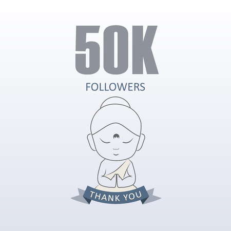 Little Monk showing gratitude for 50k followers on social media- Thank you from Little Buddha