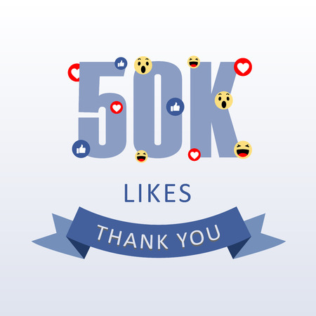 50K Likes Thank you number with emoji and heart- social media gratitude ecard Иллюстрация