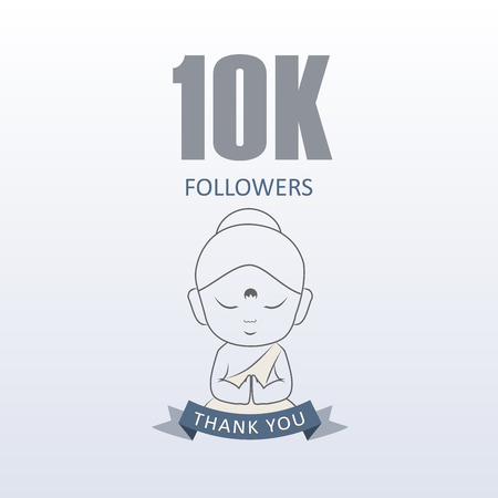 Little Monk showing gratitude for 10000 followers on social media- Thank you from Little Buddha