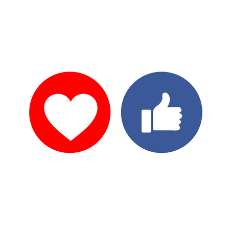 Social media share icons showing approval Illusztráció