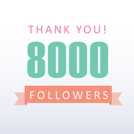 8000 followers Thank you number with banner- social media gratitude Vector Illustration