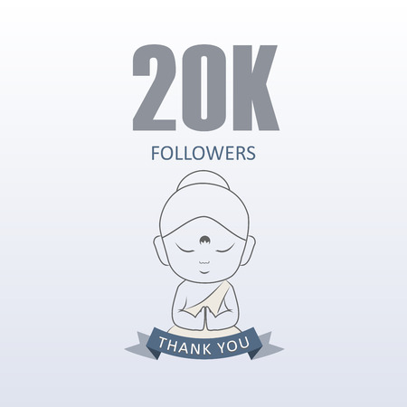 Little Monk showing gratitude for 20000 followers on social media- Thank you from Little Buddha