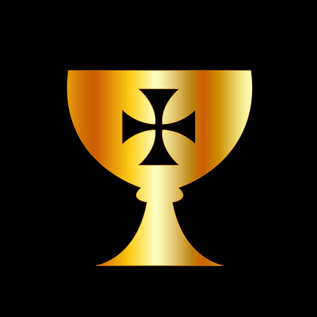 The Holy Grail or cup is a treasure, dish or stone with miraculous powers that provide happiness, eternal youth or sustenance in infinite abundance 向量圖像