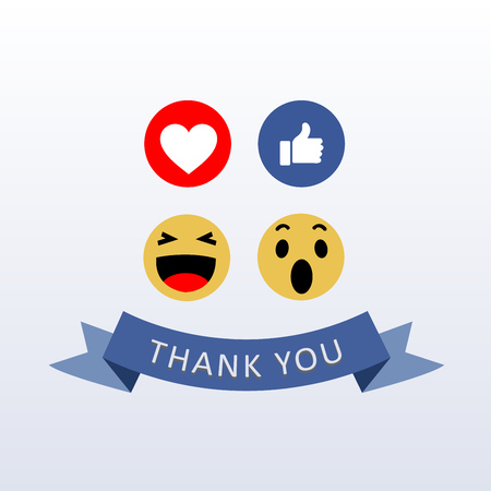 Social Media Face Reaction Emojis with thank you