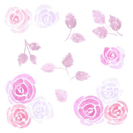 Loose watercolor roses floral design elements Stock Photo
