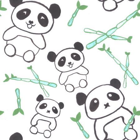 Watercolor pandas with bamboo shoots seamless background