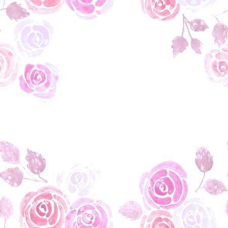 Watercolor Rose flower floral banner or frame