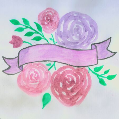 Roses and leaves with a banner watercolor painting