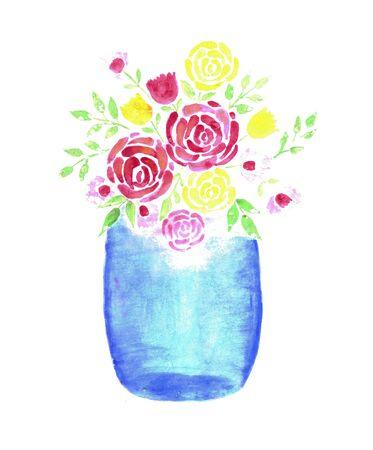 Beautiful Watercolor Flower bouquet in a Glass Mason Jar Zdjęcie Seryjne