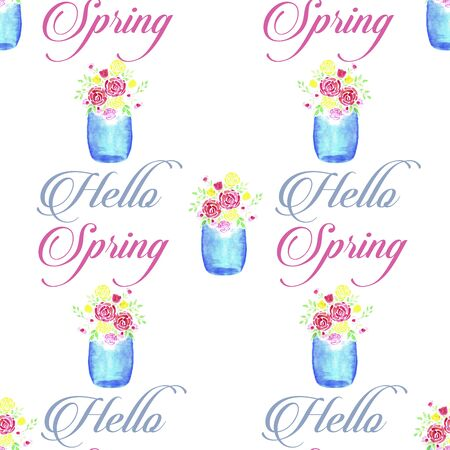Beautiful Watercolor Flower bouquet in a Glass Mason Jar with Hello Spring