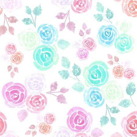 Seamless watercolor roses floral background