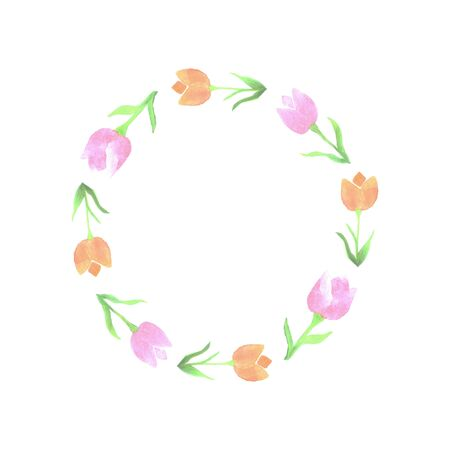 Wreath with watercolor tulips