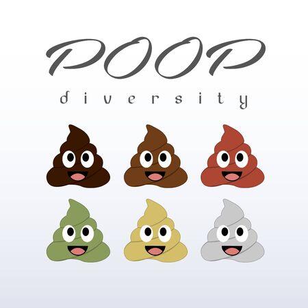 Poop diversity- Types of poop happy emoticons
