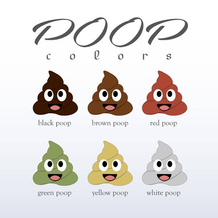 Poop colors- types of different types of faecal matter Vector Illustratie