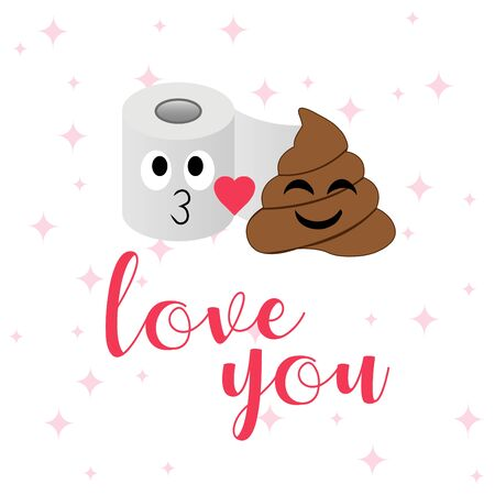 Poop and toilet tissue couple in a romantic mood