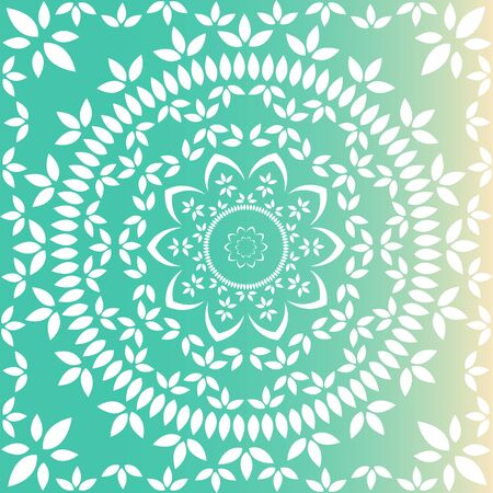 Fresh green and lime floral mandala Vectores