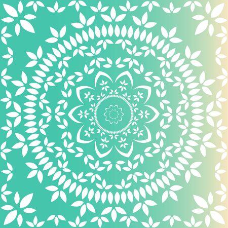 Mandala floral verde y lima fresca Ilustración de vector