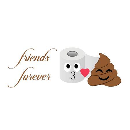 Toilet tissue and poop emoji friends forever