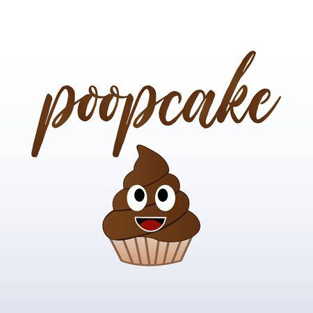 Chocolate muffin cake for birthday with chocolate cream