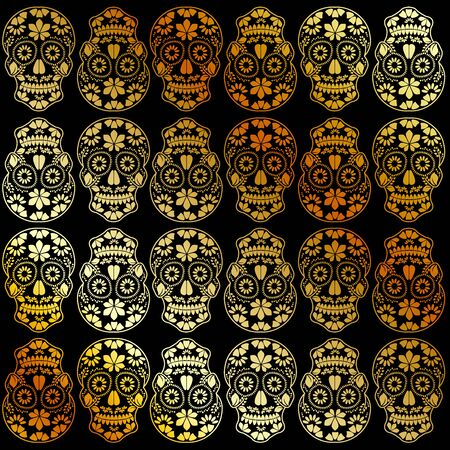 Golden calavera floral skulls- Mexican sugar skulls
