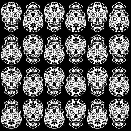 Floral sugar skulls seamless background on black