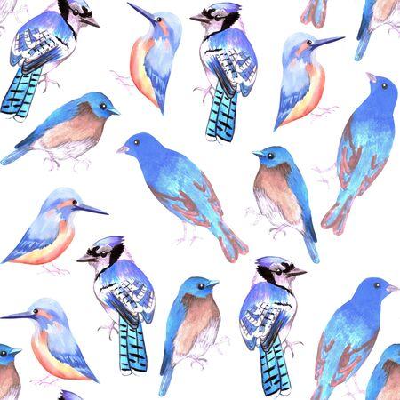 Vögel in den Farbtönen und in den Schattierungen des blauen nahtlosen Aquarellvogelmalereihintergrundes