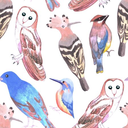 Endangered birds seamless watercolor background