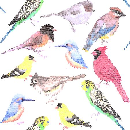 Various birds stained glass art seamless background- budgie cardinal goldfinch titmouse kingfisher cedar waxwing juncos