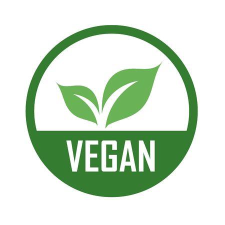 Logo vegano con foglie verdi per dieta vegetariana biologica - Simbolo vegetariano universale