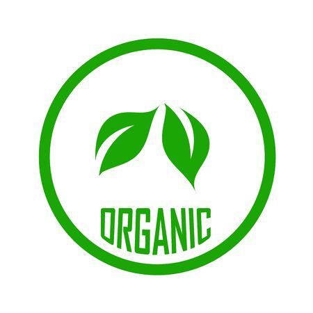 Blätter, die ein Zeichenblatt für Bio-Lebensmittel zeigen, das eine vegetarische freundliche Ernährung der Europäischen Vegetarier-Union symbolisiert