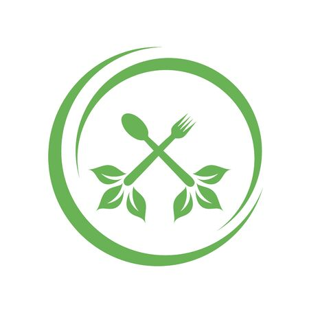 Cafe or restaurant serving Organic food logo- leaves from spoon and fork symbolizing Vegan friendly diet by European Vegetarian Union